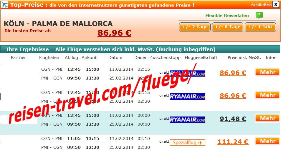 Billigflug Mallorca
