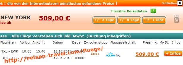 Screenshot Preisvergleich Billigflüge Deutschland USA Herbst Oktober November Dezember Januar