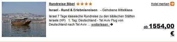 Travel Rundreise Israel Hotel inkl. Flug 1 Woche ab 1554.- Euro