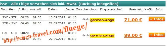 Screenshot Preisvergleich Billigflüge Deutschland  August September Oktober November Dezember Januar Februar März