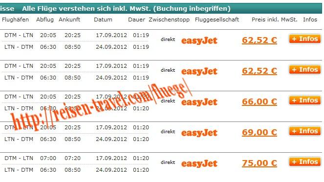 Screenshot Vergleich Billigflüge London Deutschland Billigflieger August September Oktober November Dezember Januar Februar März