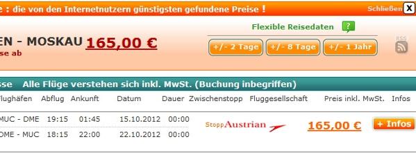 Screenshot Preisvergleich Billigflüge Deutschland Russland Herbst September Oktober November Dezember Januar Februar