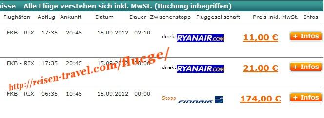 Screenshot Preisvergleich Billigflüge Deutschland Lettland ab 11,00 € Deutschland August September Oktober November Dezember