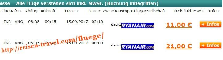 Screenshot Preisvergleich Billigflüge Deutschland Litauen ab 11,00 € Deutschland August September Oktober November Dezember