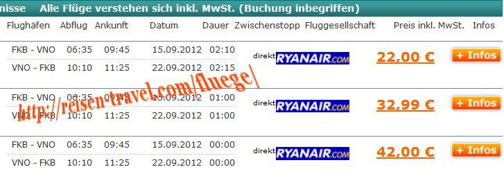Screenshot Preisvergleich Cheap Flight Germany Litauen ab 22,00 € August September Oktober November Dezember Januar Februar hin und Rückflug Flughafen Baden-Airpark
