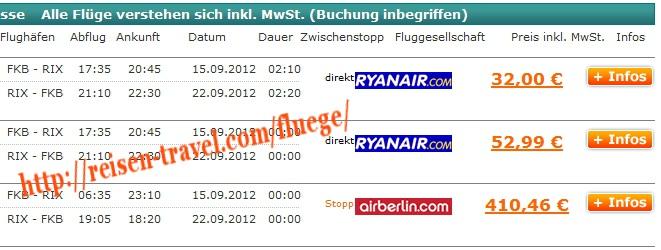 Screenshot: Preisvergleich Cheap Flight Germany Lettland ab 32,00 € August September Oktober November Dezember Januar Februar hin und Rückflug Flughafen Baden-Airpark FKB - RIX billig buchen