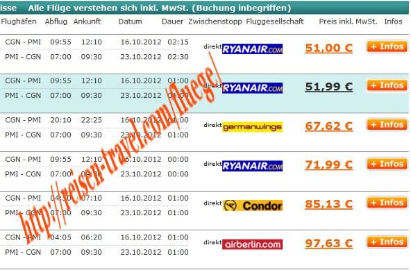 Screenshot Preisvergleich Billigflüge Deutschland Herbst September Oktober November