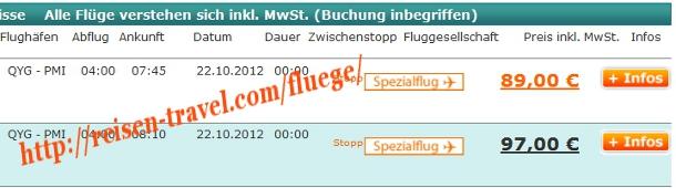 Screenshot Preisvergleich Billigflüge Deutschland Spanien Balearen Herbst September Oktober November Dezember